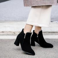 短靴女冬季2019新款韩版马丁靴高跟鞋女秋大码40-43靴子真皮小码