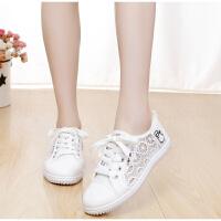 夏季平底大童板鞋镂空网鞋低帮网纱帆布鞋少女中学生跑步鞋