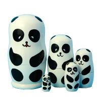 俄罗斯套娃5层熊猫娃娃木质手绘工艺品哈尔滨旅游工艺礼品