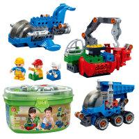 大颗粒积木儿童玩具挖掘机吊车工程建筑立体拼插塑料兼容乐高 男孩女孩3-6岁生日礼物