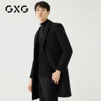 GXG男装 冬季男士时尚流行帅气青年韩版黑色外套羊毛长款大衣男