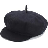 中老年年秋冬毛呢帽子男鸭舌薄款老人八角帽单帽画家帽爸爸爷爷帽