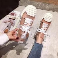 韩版2019春季新款单鞋百搭网红性感透明拼接系带低帮板鞋白色女鞋