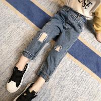 女童牛仔裤春装小女孩洋气时尚破洞裤子儿童休闲长裤