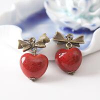 景德镇手工陶瓷饰品 特色花釉心形瓷珠耳环 复古民族风耳饰