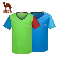 骆驼童装 春夏儿童休闲T恤青少男童女童V领短袖上衣