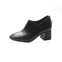 2019秋冬新款欧美方头马丁靴女式粗跟中跟短靴后拉链单靴及裸靴