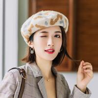 贝雷帽女秋冬羊毛蓓蕾帽英伦复古韩版日系时尚百搭豹纹画家南瓜帽