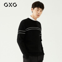 GXG男装 冬季男士时尚韩版帅气流行休闲黑色修身圆领低领毛衫男