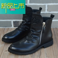 新品上市男士短靴高帮皮鞋韩版尖头皮靴英伦男靴马丁靴男潮流工装靴子