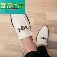 新品上市小皮鞋男土夜场潮流尖头一脚蹬内增高CM韩版型师8CM休闲鞋子