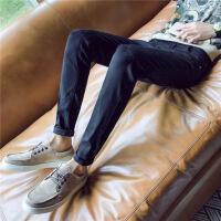 【秋冬新款】工装牛仔裤男国潮牌嘻哈chic韩风街头浅蓝色束脚裤ins九分裤