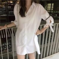 新款连衣裙 夏季新款后背百褶纯色开衫衬衫裙韩版短裙显瘦气质连衣裙 均码