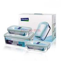 GlassLock/三光云彩 韩国进口钢化玻璃水杯四面锁扣保鲜盒饭盒三件组GL06
