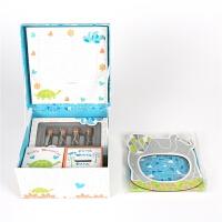 新生儿礼盒脐带保存胎毛瓶手足印相框纪念满月礼物 蓝色 马赛克