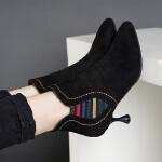尖头马丁靴高跟鞋女裸靴韩版百搭细跟短靴女鞋欧洲站2018秋冬新款 黑色