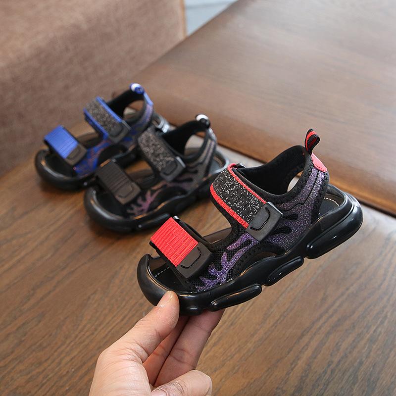 夏季儿童包头凉鞋中小童软底踢防软底沙滩鞋男童防滑凉鞋