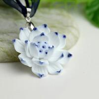 手工编织陶瓷首饰 瓷 项链 情人节礼物 玫瑰花