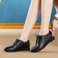 单鞋女2018新品深口百搭系带内增高英伦小皮鞋坡跟平底女鞋子