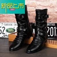 新品上市秋冬马丁靴男靴英伦男士皮靴高筒潮男靴铆钉朋克高帮皮鞋中筒靴子