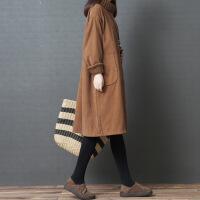 大码女装秋冬季胖mm宽松灯芯绒卫衣保暖裙加绒加厚洋气高领连衣裙