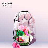 永生花礼盒玻璃罩玫瑰花情人节礼物干花花束diy生日摆件