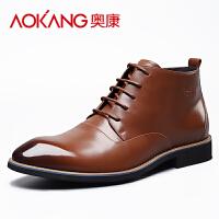 奥康(AOKANG)皮鞋新款男士真皮靴子男英伦风高帮马丁靴