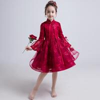 花童婚纱女童公主裙小女孩儿童长袖晚礼服小主持人钢琴演出服