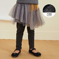 【2件2.5折券价:124.75元】马拉丁童装女童短裙冬装新款拼接蓬蓬纱连裤裙假两件半身裙
