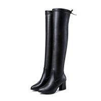 过膝长靴女显瘦弹力靴中高跟筒靴 粗跟长筒靴子韩版女靴2019新款 黑色