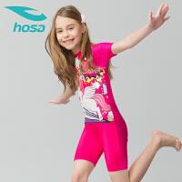 hosa浩沙儿童泳衣女童泳装中大童连体平角游泳衣2018新款卡通拉链