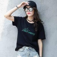 夏季新款宽松加大码棉短袖套头t恤韩版休闲女装t恤上衣