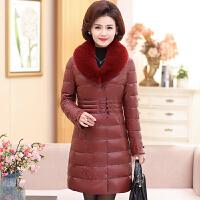 中老年女装冬装棉衣外套中长款40-50岁妈妈装加厚Pu皮衣羽绒