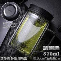 双层玻璃杯带把办公杯男商务大容量便携水杯带盖过滤泡茶杯子 抖音