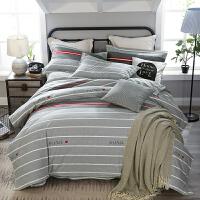 四件套加厚磨毛冬季棉被套床单双人床笠1.5m1.8米2.0床上用品k 银色 悠闲雅致-吉