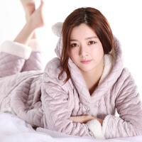 加绒产妇孕妇保暖睡衣套装月子服厚冬季产后月子哺乳衣