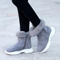 儿童雪地靴 女童加绒加厚棉鞋2019冬季女孩反绒皮靴子中大童韩版时尚中筒靴