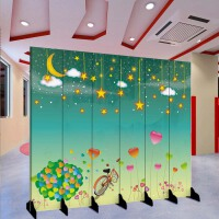 幼儿园屏风 现代屏风隔断卡通幼儿园房卧室舞台折叠玄关门背景墙移动折屏 乳白色 K-1