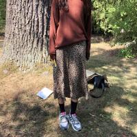 大摆裙高腰豹纹半身裙子女装秋季2018新款韩国字裙时尚半身长裙 豹纹 S 80斤~90斤