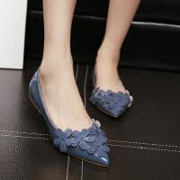 夏季新款欧美时尚尖头平底鞋浅口花朵舒适平跟单鞋女Z111-75