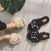 羊羔毛毛拖鞋外穿女露趾羊卷毛半拖鞋平底羊毛懒人穆勒鞋珍珠女鞋