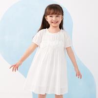 【秒杀价:210元】马拉丁童装女童连衣裙夏装2020新款泡泡袖抽褶拼接白色网纱公主裙