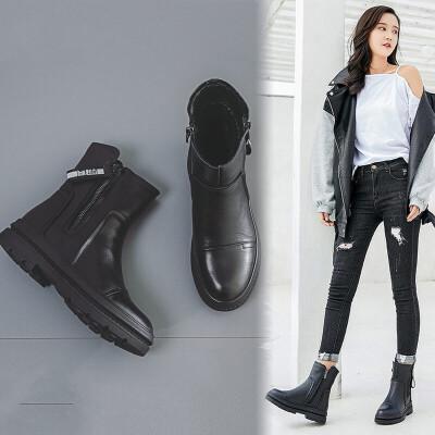 靴子女冬真皮平底2019新款加绒马丁靴棉靴二棉鞋中筒女靴大棉短靴