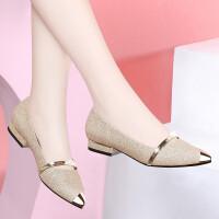 单鞋女2019新品春季时尚尖头通勤淑女鞋韩版浅口鞋舒适低跟大码女鞋