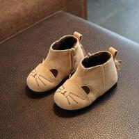 2017冬女童棉靴子婴儿保暖鞋1-3岁小童棉鞋 公主学步加厚短靴