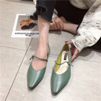 尖头单鞋女2019春季新款时尚浅口软底单鞋一字带套脚简约气质女鞋