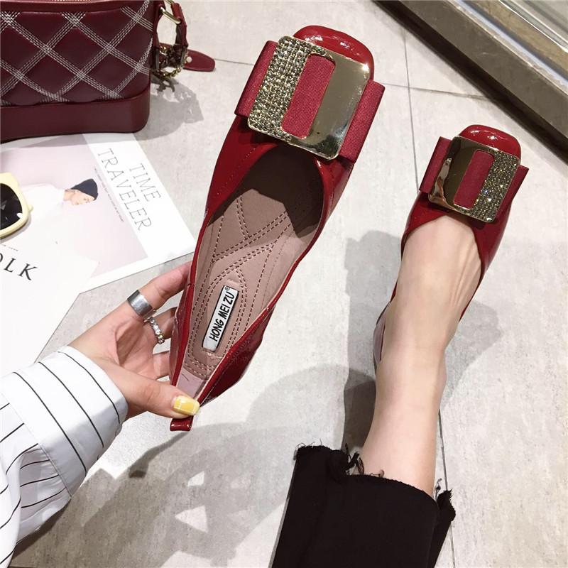 平底鞋女2019新款春季韩版金属方扣百搭时尚软底浅口方头单鞋女鞋