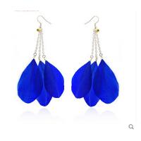 时尚甜美饰品 欧美流行波西米亚纯色羽毛耳环 可更换无耳洞耳夹