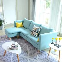 北欧布艺沙发组合日式客厅沙发转角 简约现代布艺沙发出租房组合整装客厅日式沙发