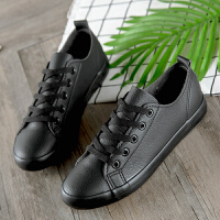 全黑色春秋女孩子皮面帆布鞋女大童休闲运动板鞋平底中学生男女鞋